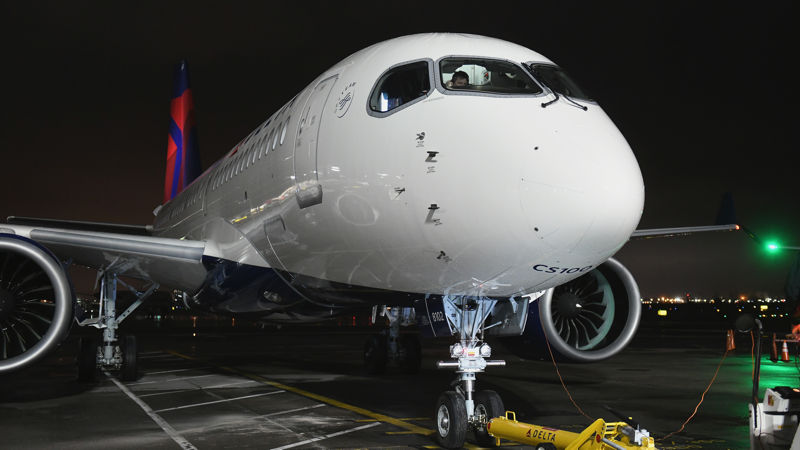 Delta Airbus A220 At New York LaGuardia