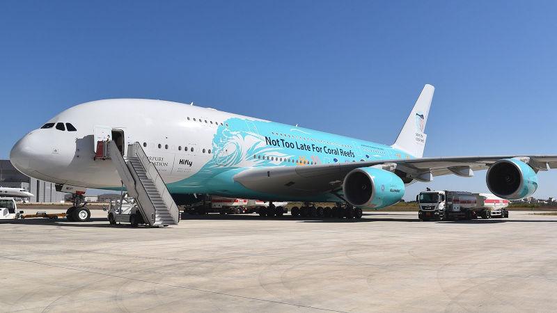HiFly Airbus A380 at Farnborough Airshow