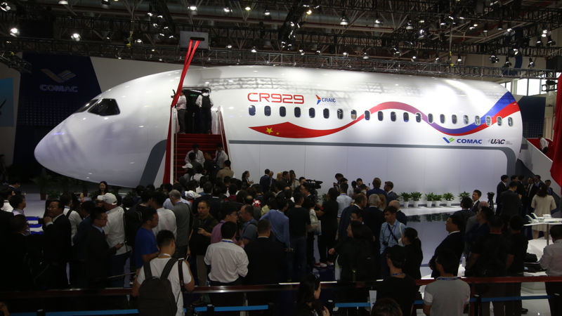 China, Russia JV Jet Mockup On Airshow Display