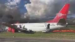 Peruvian Airliner Catches Fire On Landing